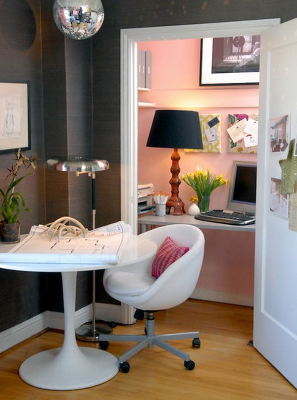 Entire home work station housed in a pretty pink closet decoist - Design home office space easily ...