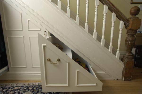Ergonomic staircase storage