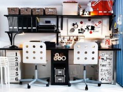 Expressive teen work space clad in black and white