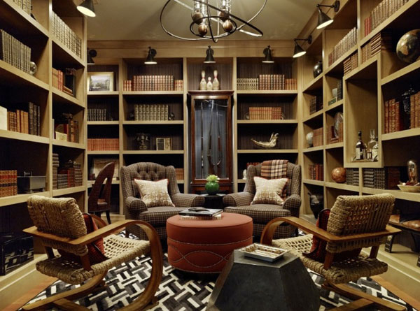 Exquisite home library in a dark shade