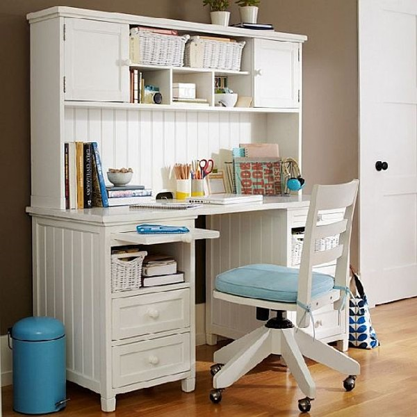 Fashionable white and blue teen work space