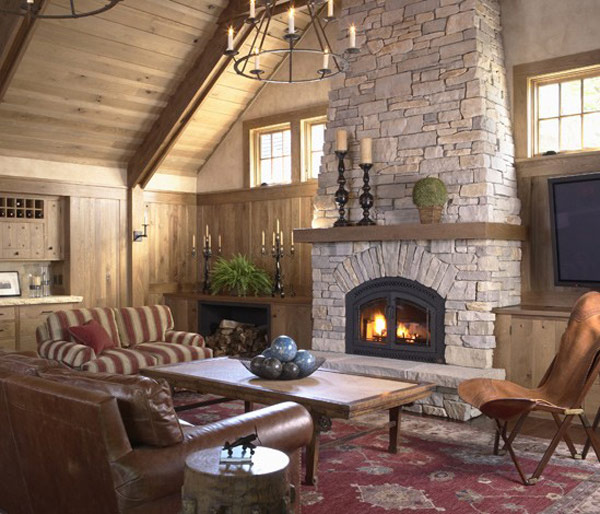 40 stone fireplace designs from classic to contemporary spaces for Interior fireplaces designs