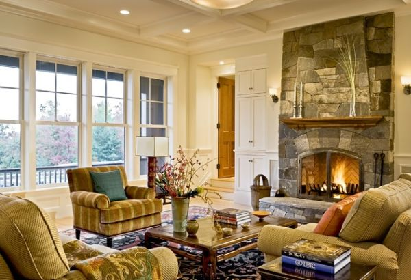 40 stone fireplace designs from classic to contemporary spaces for Living room setup ideas with fireplace