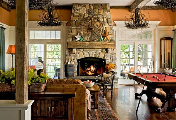 40 stone fireplace designs from classic to contemporary spaces for Fireplace with windows on each side