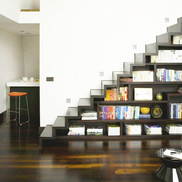 Futuristic stairway in steel gray with polished shelves