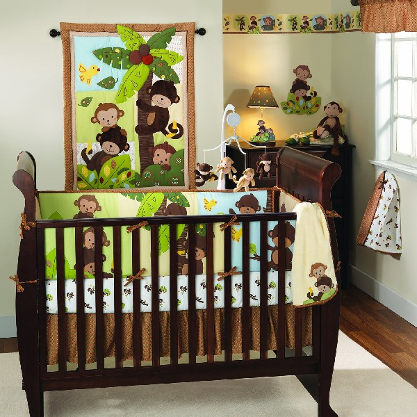 Give your baby boy loads of company with the fun bedding set