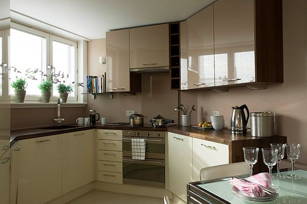 Glossy cafe au lait upper cabinets in small space kitchen for Kitchen interior designs for small spaces