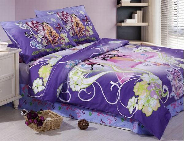 Gorgeous purple Barbie bed sheet for the contemporary home Girls Bedding: 30 Princess and Fairytale Inspired Sheets to Invite Magic Into Your Kids Bedroom