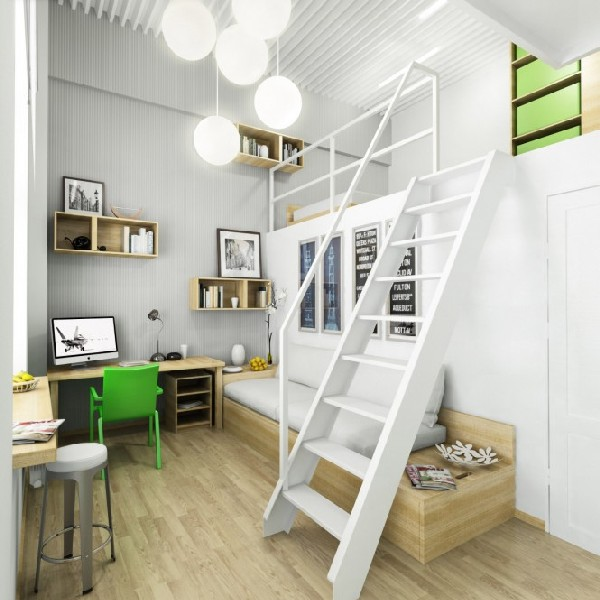 35 contemporary teen workspace ideas to fit in perfectly - Green white interior design ...