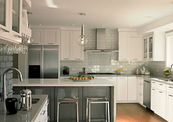 Grey And White Kitchen Furniture With Backsplash
