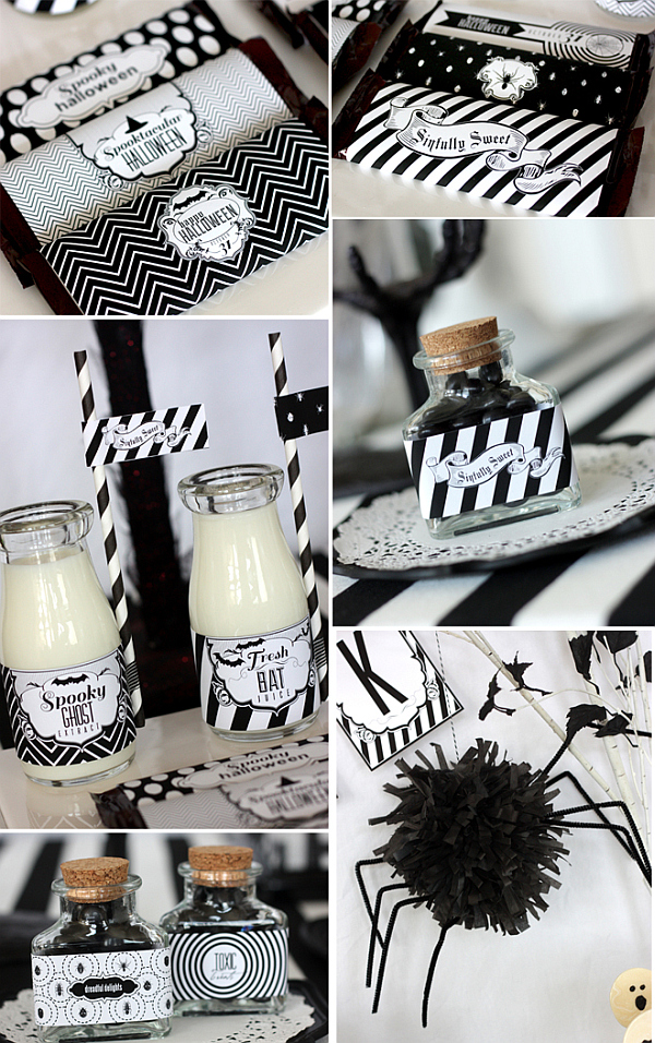 chic halloween party ideas in contemporary black and white. Black Bedroom Furniture Sets. Home Design Ideas