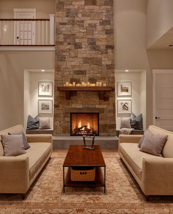 Handcrafted and dry stacked fireplace decoist - Large contemporary stone fireplace ...