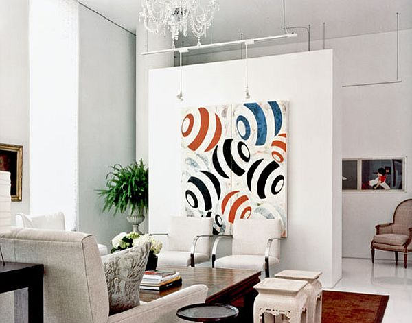 View In Gallery Hiding The TV With Wall Art. Traditional ...