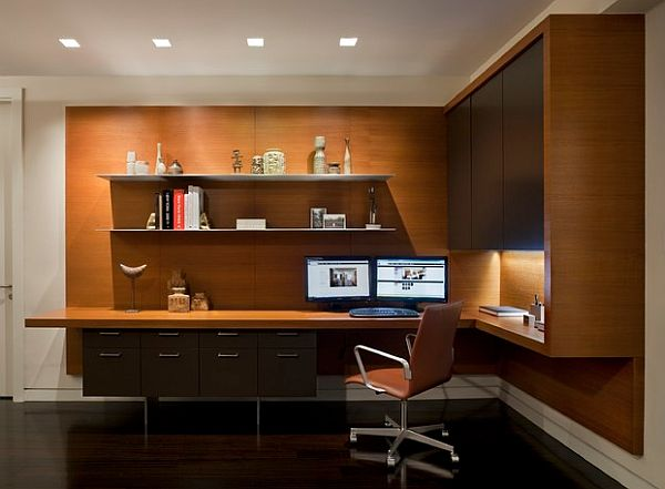 Home office design idea with floating desk with legs and cabinets