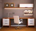 Home office design idea with sleek wooden surfaces and minimalistic overtones