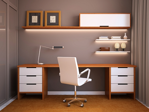 Home office design idea with sleek wooden surfaces and minimalistic overtones 24 Minimalist Home Office Design Ideas For a Trendy Working Space