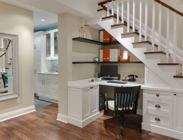 home office design utilizes the place underneath the stairs