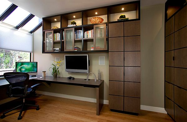Delicieux Office Cabinets Designs. View In Gallery Home Office Design With Corner  Desk And Stylish Cabinets