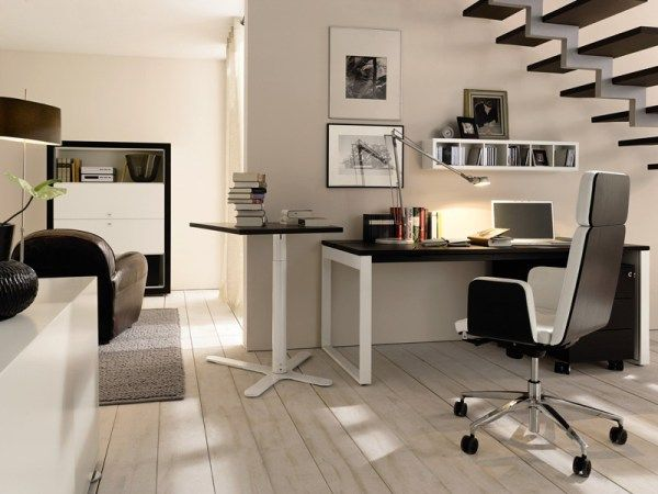 home office idea for those who wish to use space under the staircase - Modern Home Office