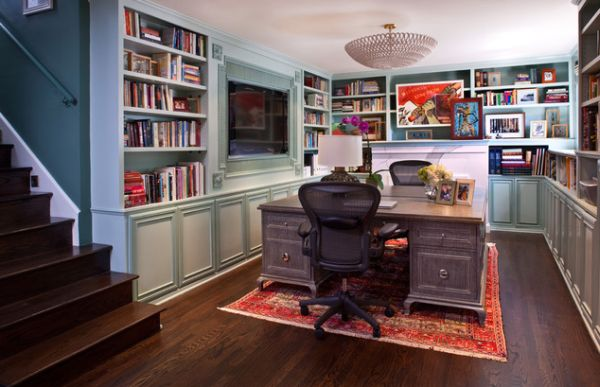 Home Office Library Design Ideas : home library with a traditional touch home office library ideas