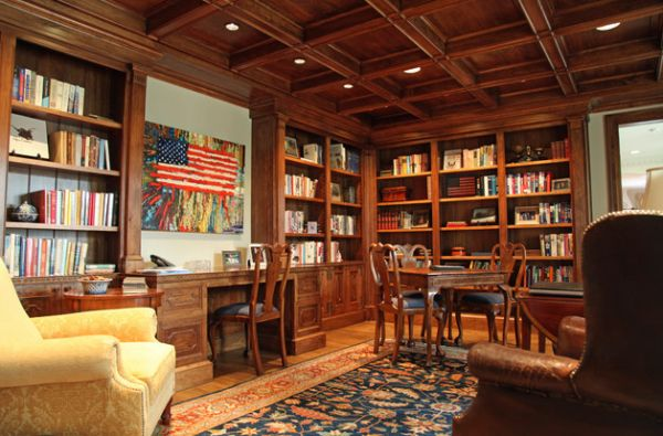 View in gallery Home office library with some patriotic zest
