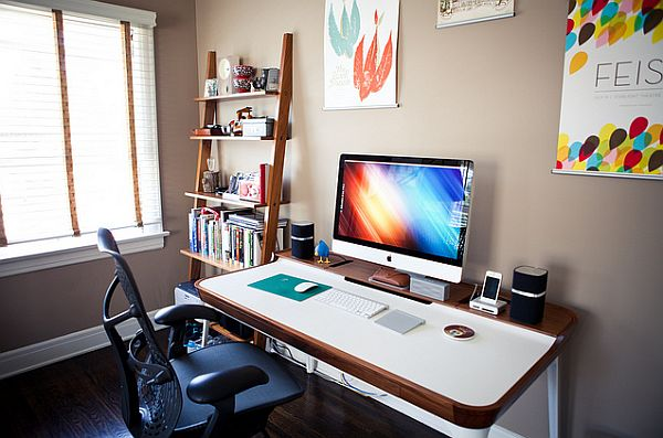Home office with a multitasking desk and restrained shelf space 24 Minimalist Home Office Design Ideas For a Trendy Working Space