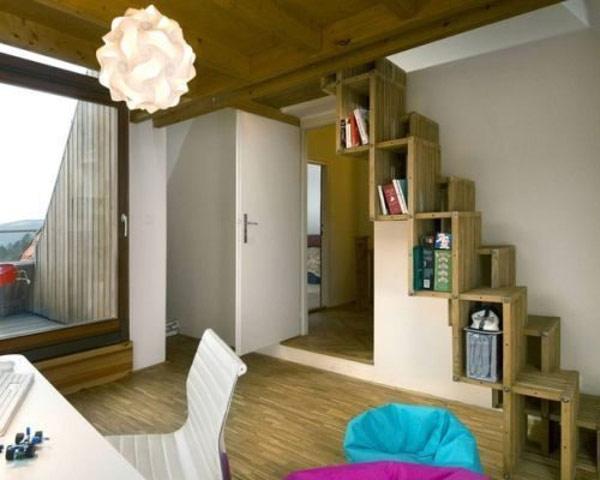 Innovative wooden stiars sport innate storage shelves