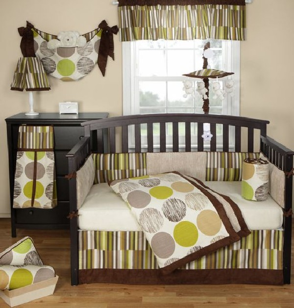 Jazz baby bedding set in sophisticated brown and green