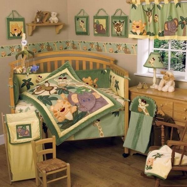 jungle themed babies bedding to add unique character to your kids