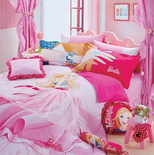 Lovely light pink Barbie bed sheets