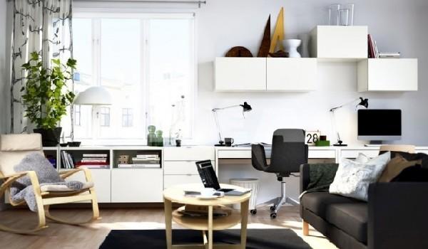 Minimalist work station in stylish black and white