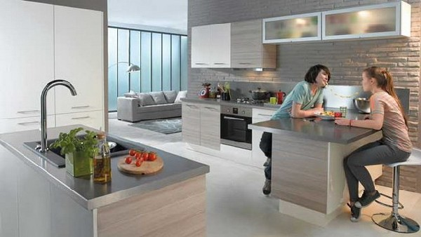 Minimalistic contemporary kitchen in steel and stone discovered in Conforama 2012 Kitchen Collection Contemporary Kitchen Collection from Conforama