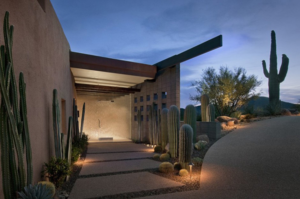 Modern Desert House - entrance pathway