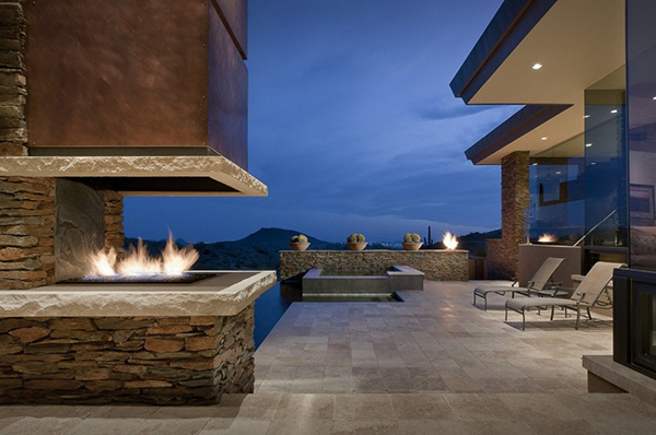 Modern Desert House - stoney outdoor with fireplace