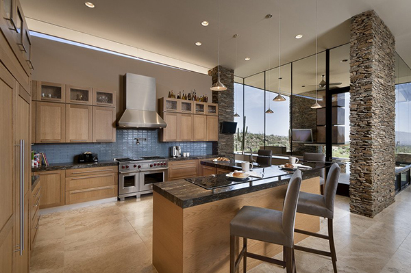 Modern Desert House - traditional kitchen