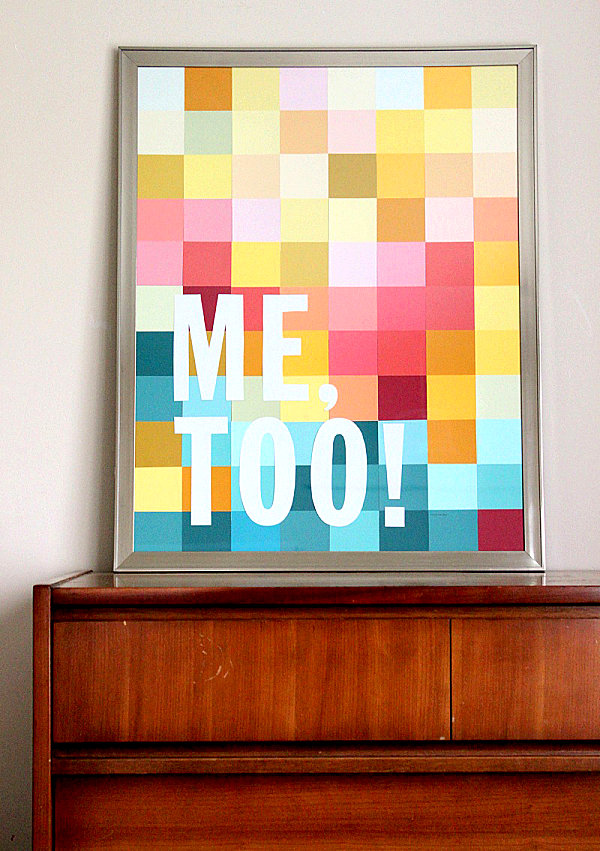 Modern art DIY project with paint chips