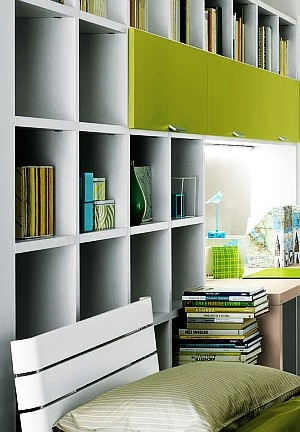 Modern home office with a compact frame and refreshing hues of green
