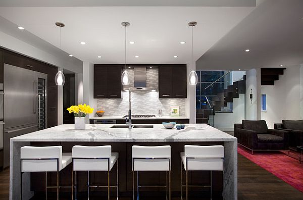 Modern kitchen remodeling with island as dining table