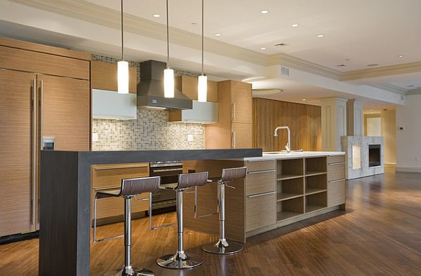 Modern kitchen with counter seating for kids and island with open shelves