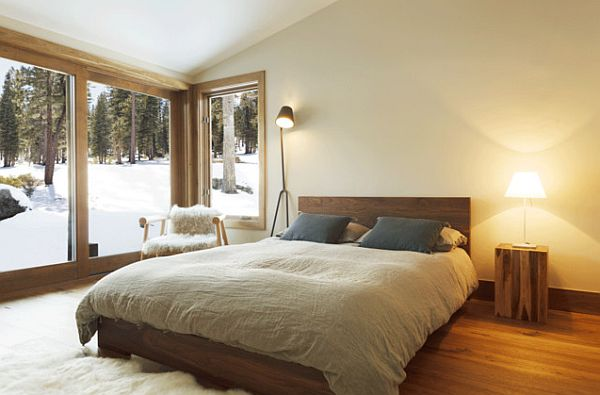 Mountain like bedroom that is warm and airy