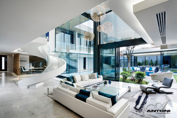 Sparkling glass house in johannesburg twinkles with Modern living room interior design 2012