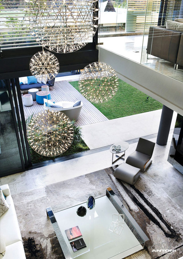 Opulent modern home in Houghton – tall living room decor
