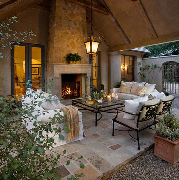 40 stone fireplace designs from classic to contemporary spaces for Outdoor living room ideas