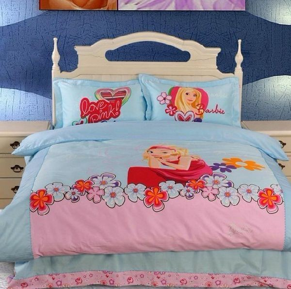 Pink and Blue Barbie Bedding set with a floral touch
