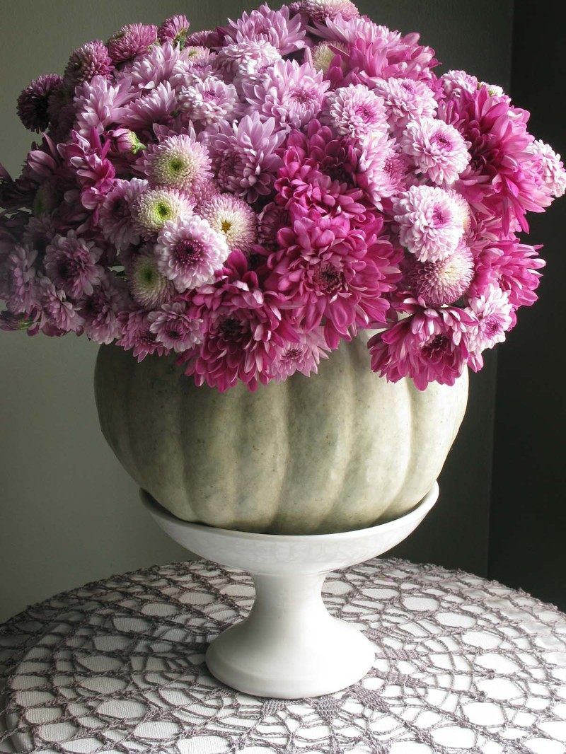 Purple mums in a white pumpkin