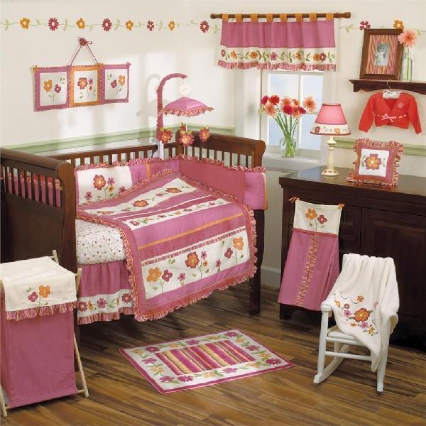 Ravishing raspberry petals baby bedding set ideal for modern homes decoist - Modern baby girl crib bedding ...