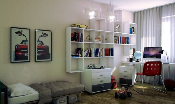 Red-and-white-teen-work-space-nestled-away-beautifully