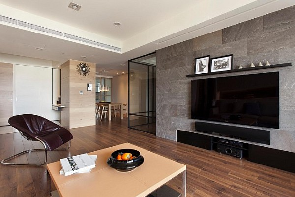 Retractable interior wall in living room
