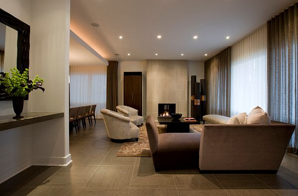 View In Gallery Roca Stone Porcelain Tile In The Living Room