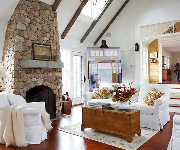 Cozy Rustic Living Room Fireplaces: 40 Stone Fireplace Designs From Classic To Contemporary Spaces